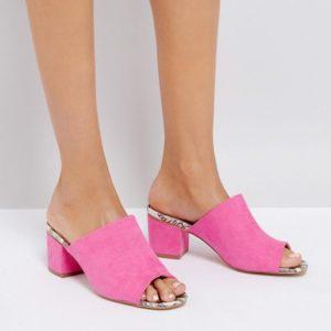 Oasis Pink Heeled Mule - Liyanah