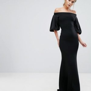 TFNC Off Shoulder Fishtail Maxi Dress With Blouson Sleeve - Liyanah