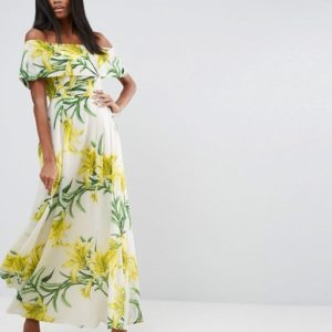 ASOS Yellow Floral Bardot Maxi Dress - Liyanah