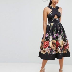 ASOS Floral Cross Front Midi Prom Dress - Liyanah