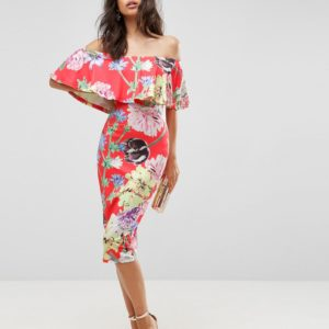 ASOS Floral Ruffle Bardot Off Shoulder Midi Dress - Liyanah