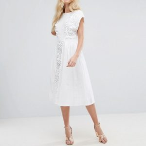 ASOS Lace Insert Midi Dress with Pom Pom Trim - Liyanah