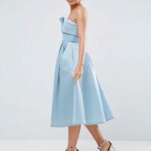 ASOS PREMIUM Bandeau Bonded Mesh Fold Front Midi Dress - Liyanah