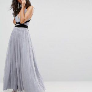 ASOS PREMIUM Tulle Maxi Prom Dress With Velvet Ties - Liyanah
