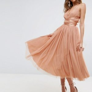ASOS PREMIUM Tulle Midi Prom Dress With Ribbon Ties - Liyanah