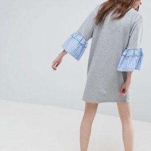 ASOS T-Shirt Dress With Woven Frill Sleeve - Liyanah