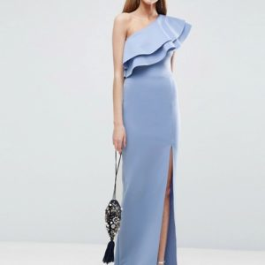 ASOS TALL Double Ruffle One Shoulder Maxi Dress - Liyanah