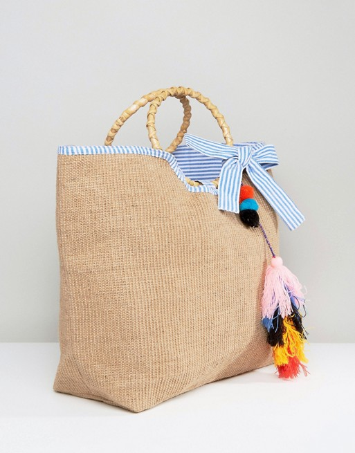 America & Beyond Festival Colourful Tassel Jute bag - Liyanah