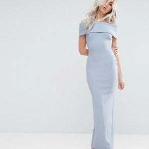 City Goddess Petite Bardot Blue Maxi Dress - Liyanah