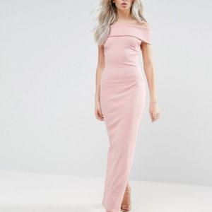 City Goddess Petite Bardot Pink Maxi Dress - Liyanah