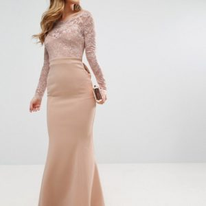 City Goddess Petite Fishtail Maxi Dress With Lace Sleeves And Bow Back - Liyanah