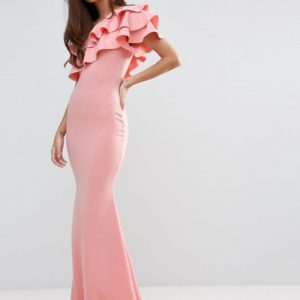 Club L Bridesmaid One Shoulder Ruffle Detail Maxi Dress - Liyanah
