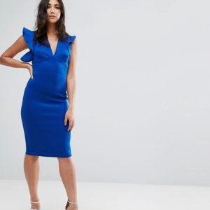 Club L V Neck Ruffle Bodycon Dress - Liyanah