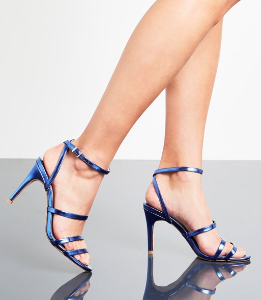 Faith Mid Blue Heel Strappy Sandals - Liyanah