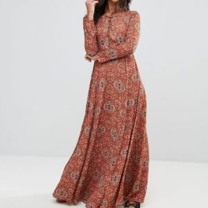 Glamorous Tan Baroque Maxi Dress - Liyanah