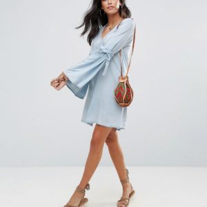 Influence Flare Sleeve V Neck Chambray Dress - Liyanah