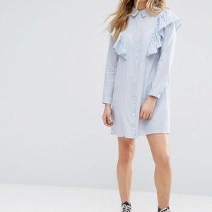 Influence Ruffle Shoulder Shirt Dress - Liyanah