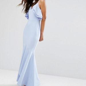 John Zack Tall Ruffle Front Fishtail Maxi Dress With High Low Hem - Liyanah