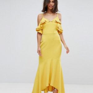 John Zack Yellow Petite Ruffle Bust Fishtail Maxi Dress - Liyanah