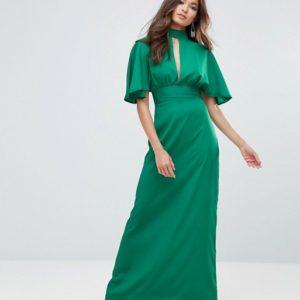 Liquorish Green Frill Sleeve Maxi Dress - Liyanah