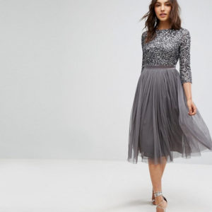 Maya 3-4 Sleeve Midi Dress in Tonal Delicate Sequin and Puffy Tulle Skirt with Bow Back - Liyanah