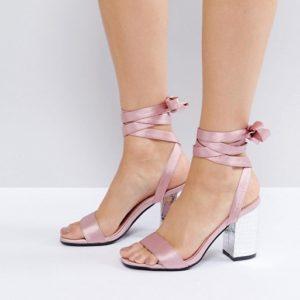 Park Lane Tie Ankle Block Satin Heel Sandal - Liyanah