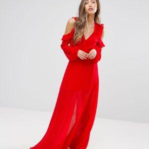 Pearl Ruffle Cold Shoulder Maxi Dress - Liyanah