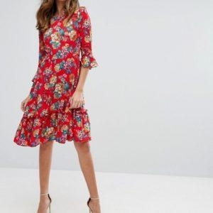 Rage Midi Dress With Frill Hem - Liyanah