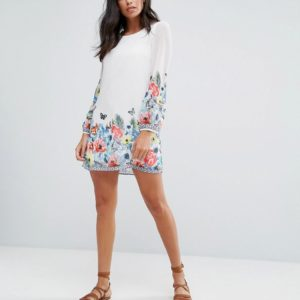 Yumi Tropical Border Print Shift Dress - Liyanah