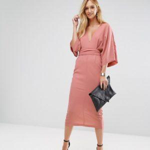 ASOS TALL Kimono Plunge Midi Dress - Liyanah