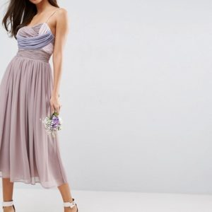 ASOS WEDDING Ruched Colour Block Midi Dress - Liyanah