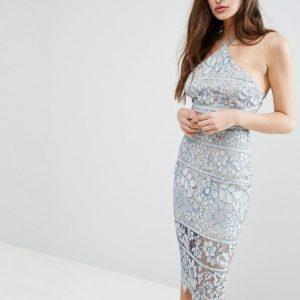 Boohoo Blue Grey Lace Midi Bodycon Dress - Liyanah