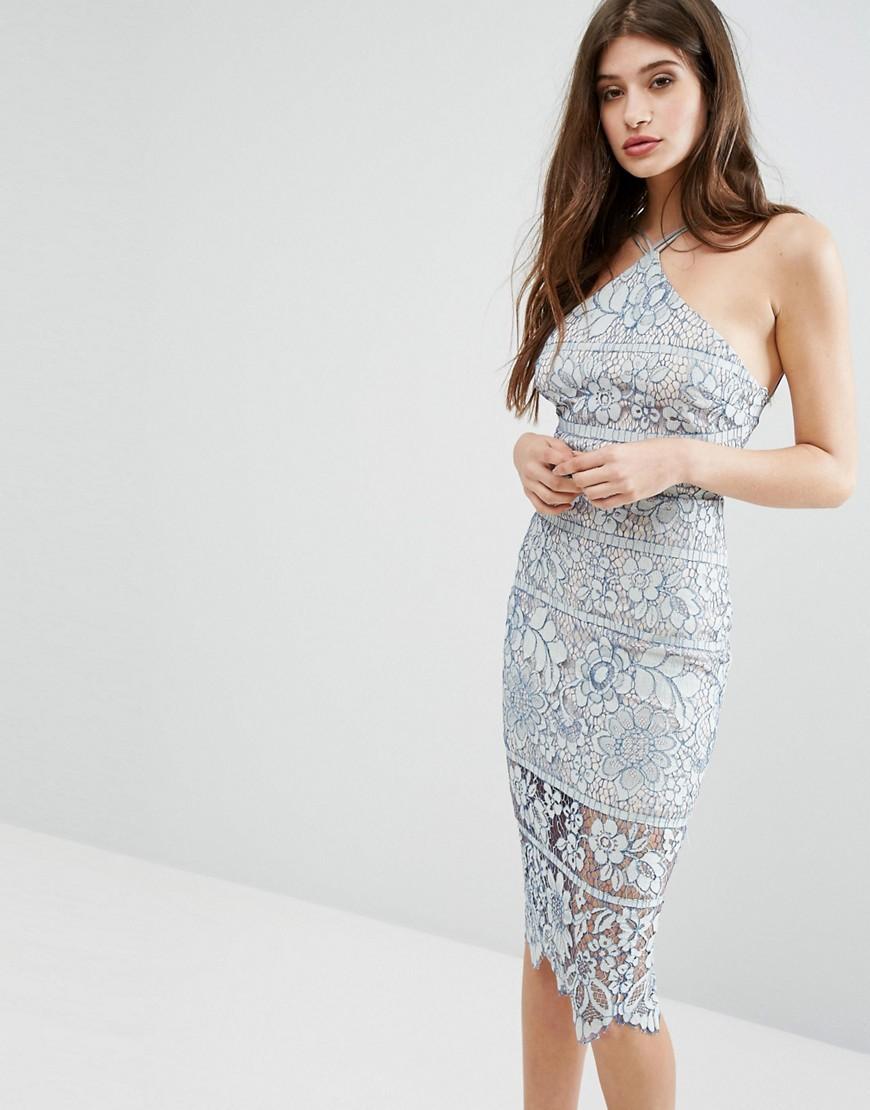 Boohoo Lace Midi Bodycon Dress