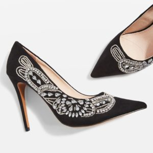 GLITZ Embellished Court Black Topshop Shoes - Liyanah