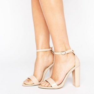 Glamorous Nude Patent Barely There Block Heeled Sandals - Liyanah