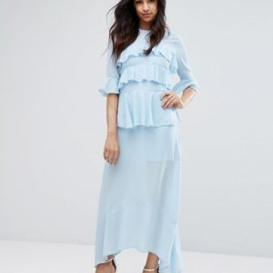 PrettyLittleThing Frill Detail Maxi Dress - Liyanah
