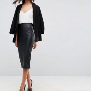ASOS Sculpt Me Leather Look Pencil Skirt - Liyanah