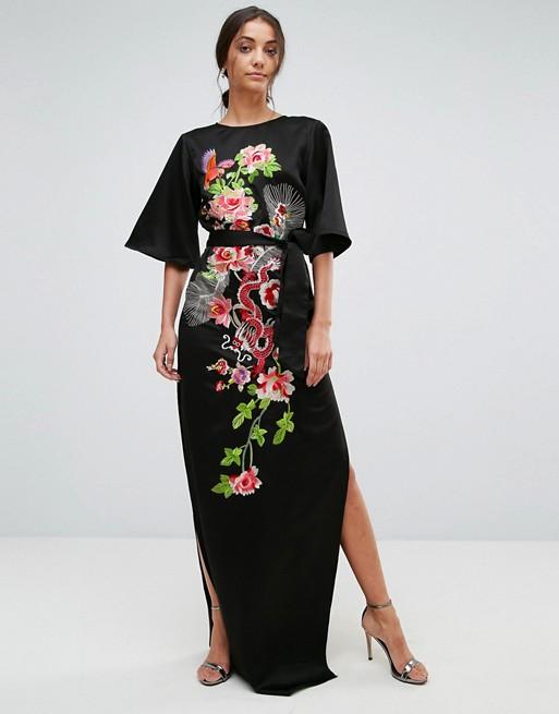 ASOS TALL Embroidered Dragon Maxi Dress - Liyanah