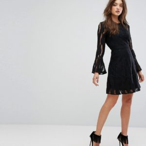 Boohoo Flare Sleeve Lace Insert Dress - Liyanah