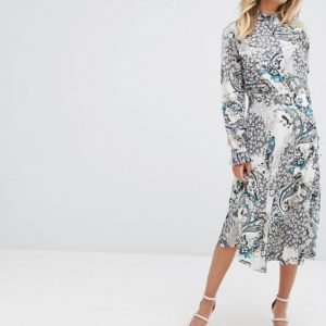 Boohoo High Neck Printed Midi Dress - Liyanah
