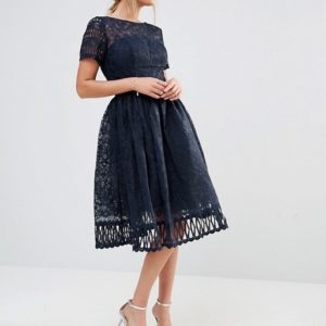 Chi Chi London Premium Lace Dress with Cutwork Detail and Cap Sleeve - Liyanah