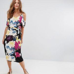 New Look Floral Cold Shoulder Midi Slip Dress - Liyanah