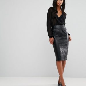 Oasis Faux Leather Pencil Skirt - Liyanah