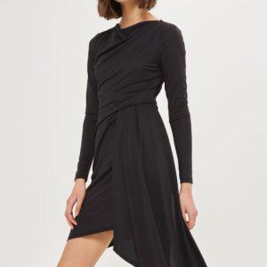 Topshop Assymetric Crepe Drape Dress - Liyanah