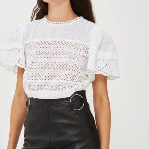 Topshop Leather Ring Midi Skirt - Liyanah