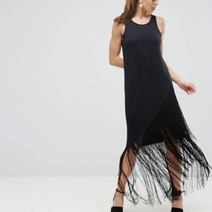 ASOS Black Maxi Dress With Fringe Detail - Liyanah