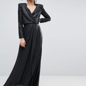 ASOS Metallic Twist Front Maxi Dress with Shoulder Pads - Liyanah