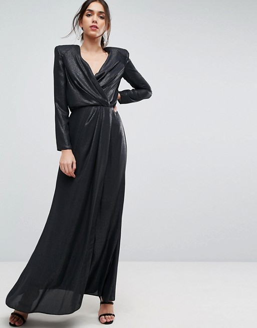 ASOS Metallic Twist Front Maxi Dress with Shoulder Pads - Liyanah