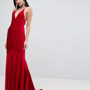 ASOS Red Carpet Velvet Deep Plunge Strappy Maxi Dress - Liyanah