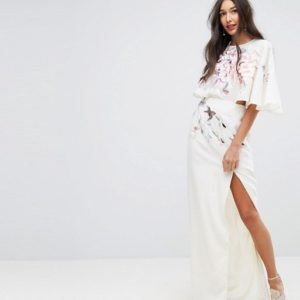 ASOS TALL Embroidered Side Cut Out Maxi Dress - Liyanah
